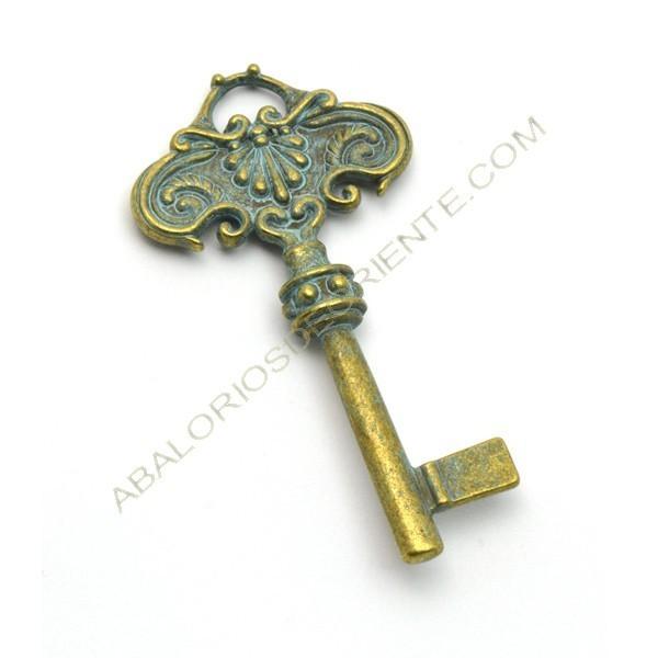 Colgante redondo de aleación de Zinc llave bronce envejecido