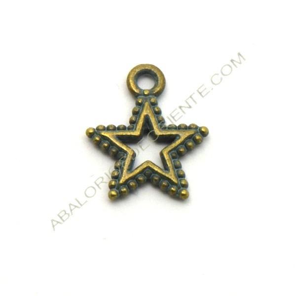 Colgante redondo de aleación de Zinc estrella de mar bronce envejecido