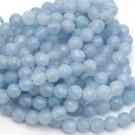 Ágata azul claro redonda facetada de 6 mm