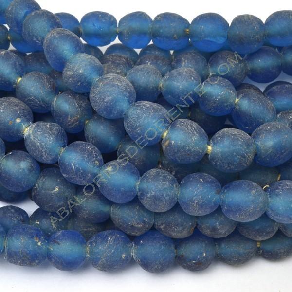 Cuenta de vidrio reciclado azul pavo real 12 x 12 x 12 mm