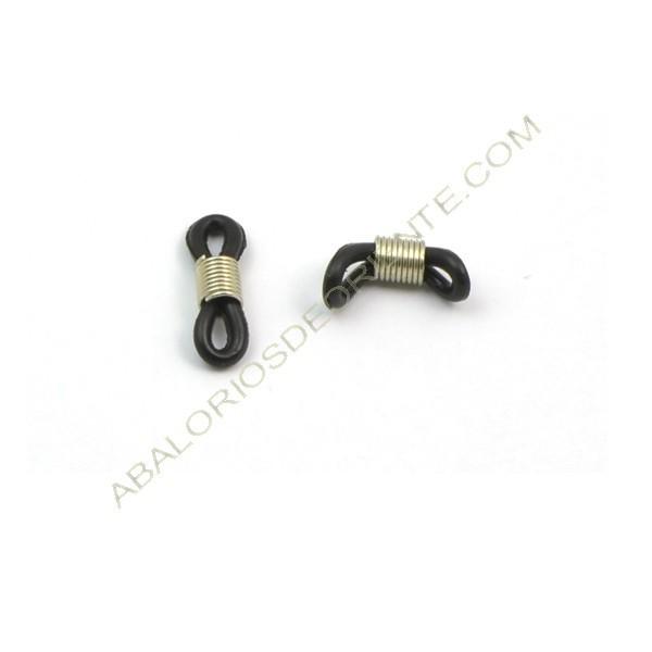 Gomas para gafas negra y muelle plateado de acero inoxidable