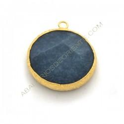 Colgante redondo dorado de Jade de 25 mm azulón