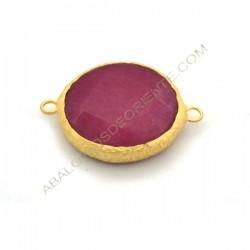 Entrepieza conectora redonda dorada de Jade de 25 mm rosa fucsia
