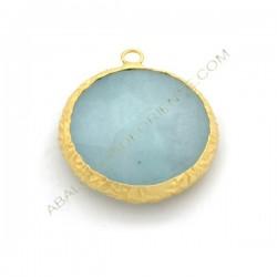 Colgante redondo dorado de Jade de 25 mm azul claro