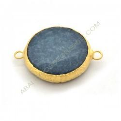 Entrepieza conectora redonda dorada de Jade de 25 mm azulón