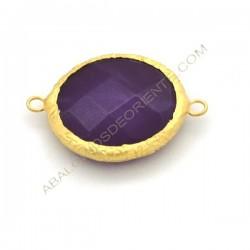 Entrepieza conectora redonda dorada de Jade de 25 mm morada