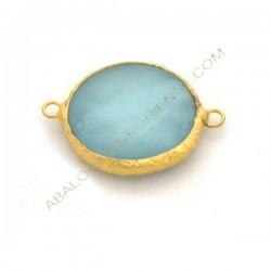 Entrepieza conectora redonda dorada de Jade de 25 mm azul claro