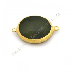 Entrepieza conectora redonda dorada de Jade de 25 mm verde