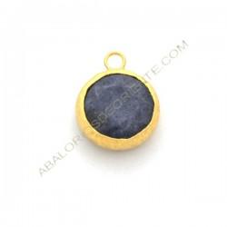 Colgante redondo dorado de Jade de 15 mm azulón