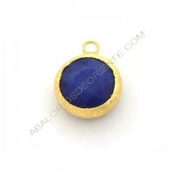 Colgante redondo dorado de Jade de 15 mm azul
