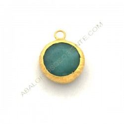 Colgante redondo dorado de Jade de 15 mm turquesa