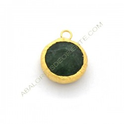 Colgante redondo dorado de Jade de 15 mm verde