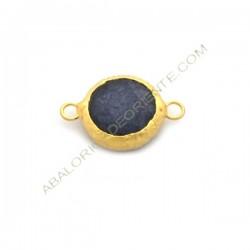 Entrepieza conectora redonda dorada de Jade de 15 mm azulón
