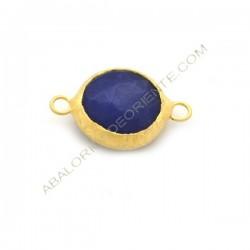 Entrepieza conectora redonda dorada de Jade de 15 mm azul