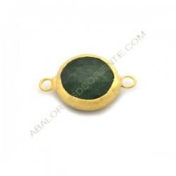 Entrepieza conectora redonda dorada de Jade de 15 mm verde