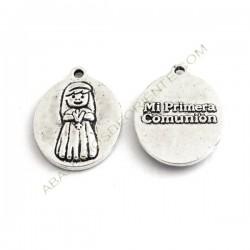 Medalla niña Primera Comunión plateada