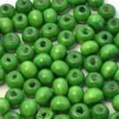 Bolsa de 100 cuentas de madera redonda verde loro de 7 mm