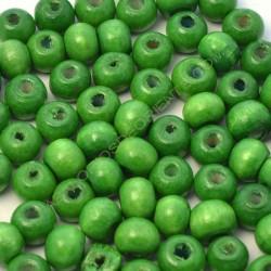 Cuenta de madera redonda verde loro de 7 mm