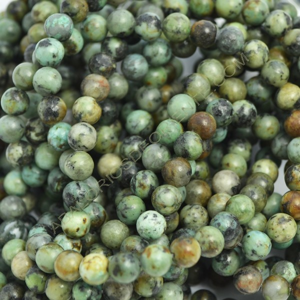 Turquesa natural africana redonda de 6 mm