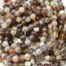 Ágata natural redonda marrón grisáceo de 6 mm