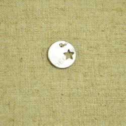 Charm de plata 925 redondo con estrella calada