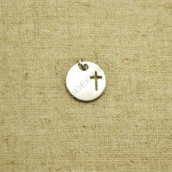 Charm de plata 925 redondo con cruz calada