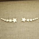 Pendientes de plata 925 chapado en oro 6 estrellas