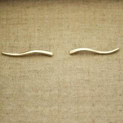 Pendientes de plata 925 chapado en oro ondulado