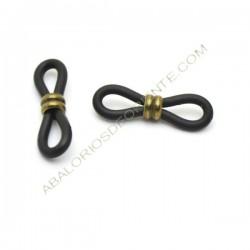 Gomas para gafas negra con doble anilla bronce