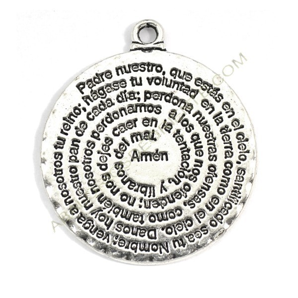 Colgante de metal plateado con inscripción del Padre nuestro 35 x 30 mm