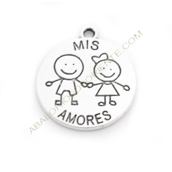 """Medalla de aleación de Zinc niños """"Mis amores"""""""