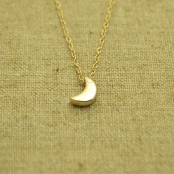 Cadena de plata 925 chapada en oro con media luna