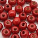 Bolsa de 100 de cuentas de madera redonda roja de 7 mm
