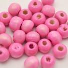 Bolsa de 100 cuentas de madera redonda rosa de 7 mm