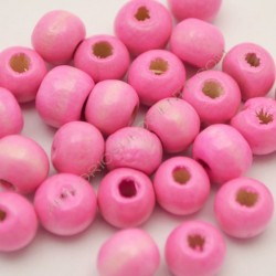 Bolsa de cuentas de madera redonda rosa de 7 mm
