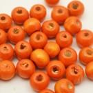 Bolsa de 100 cuentas de madera redonda naranja de 7 mm