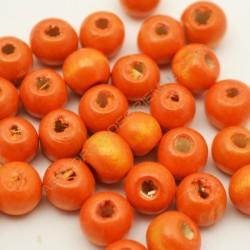 Cuenta de madera redonda naranja de 7 mm