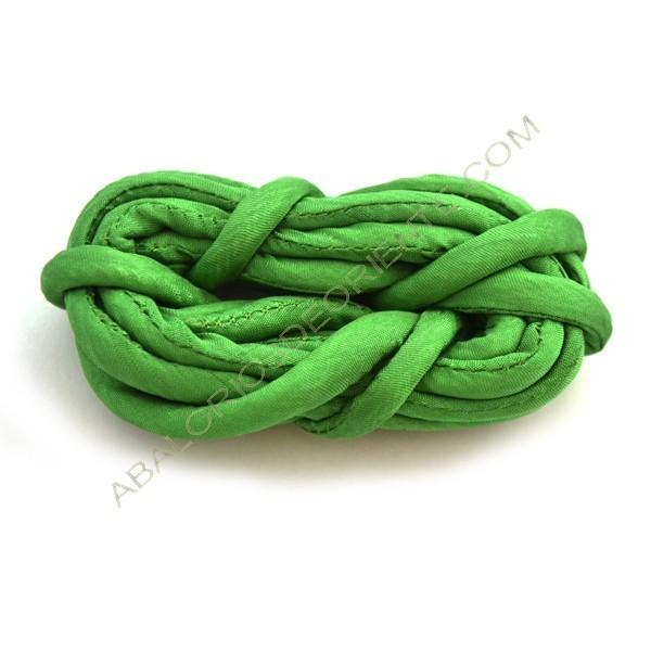 Cordón de seda natural india relleno 4 mm verde botella de 2 metros