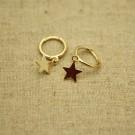 Pendientes de plata 925 chapados en oro círculo con estrella