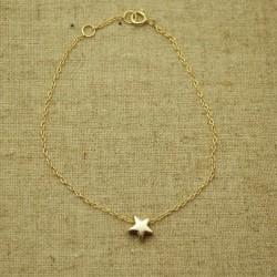 Pulsera de plata 925 chapada en oro con estrella