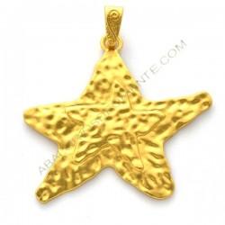 Colgante de aleación de Zinc dorado mate estrella de mar