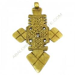Cruz copta de bronce 92 x 67 x 2,5 mm