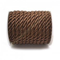 Cordón trenzado de algodón marrón 4 mm