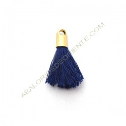 Pompón de algodón de 18 mm azul marino dorado