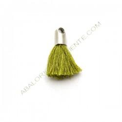 Pompón de algodón de 18 mm verde oliva plateado