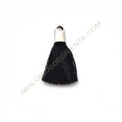 Pompón de algodón de 18 mm negro plateado