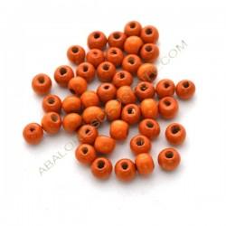 Cuenta de madera redonda achatada naranja 6 x 7 mm