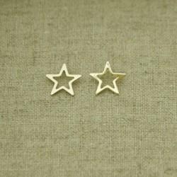 Pendientes de plata 925 chapado en oro estrella 11 mm