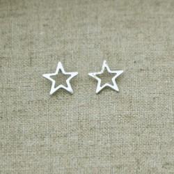 Pendientes de plata 925 estrella 11 mm