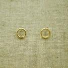 Pendientes de plata 925 chapado en oro círculo de 6 mm